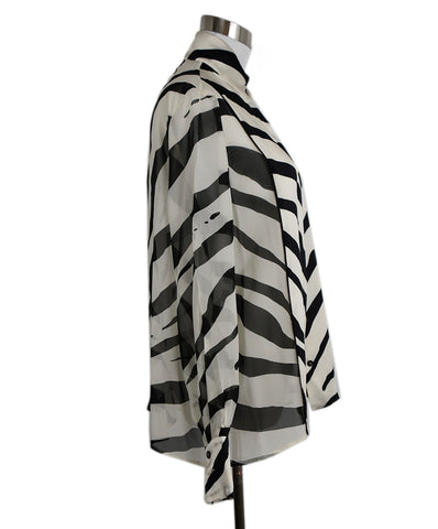 Lanvin Black Ivory Stripes Silk Blouse 1