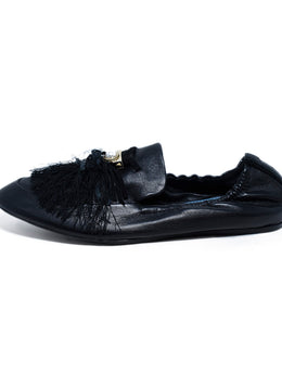 Lanvin Black Leather Gold Pearl Tassel Flats 2