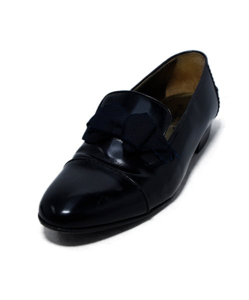 Lanvin Black Leather Grosgrain Bow Flats 2