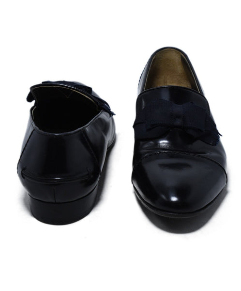 Lanvin Black Leather Grosgrain Bow Flats 3