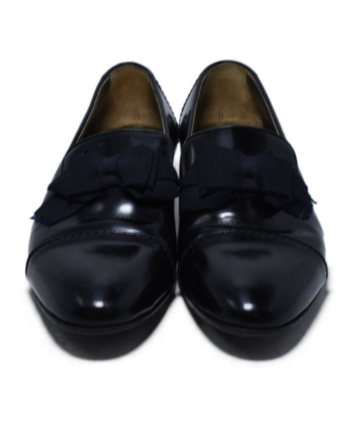Lanvin Black Leather Grosgrain Bow Flats 4
