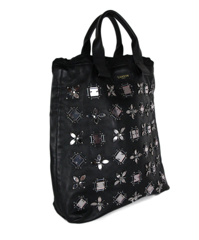 Lanvin Black Leather Mirror Flower Tote Handbag 1