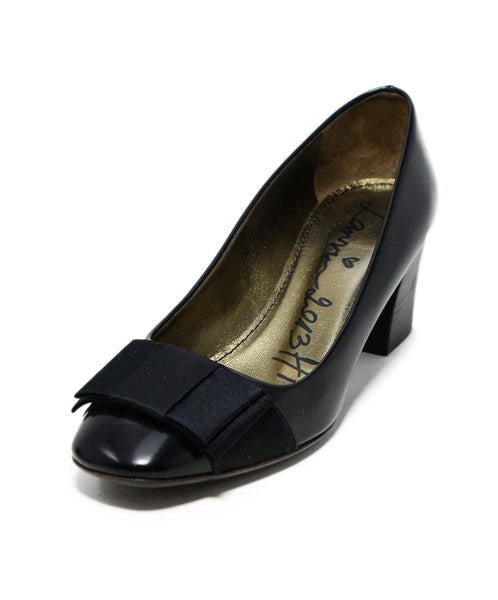 Lanvin Black Leather Silk Trim Heels 1