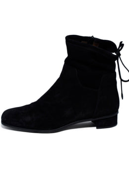 Lanvin Black Leather Silver Chain Trim Booties 2