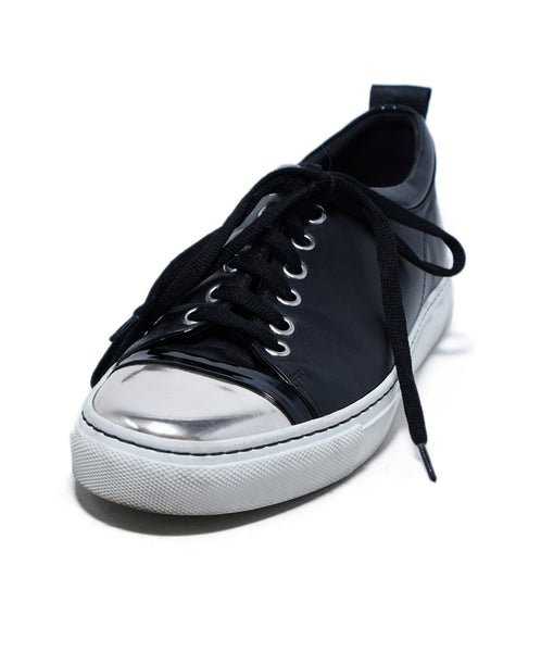 Lanvin Black Leather Silver Trim Sneakers 1