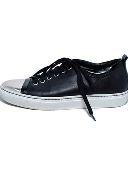 Lanvin Black Leather Silver Trim Sneakers 2