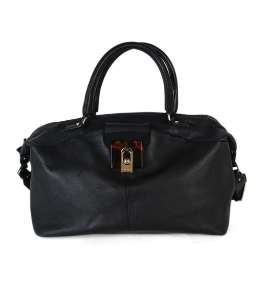 Lanvin black leather tortoise trim satchel 1