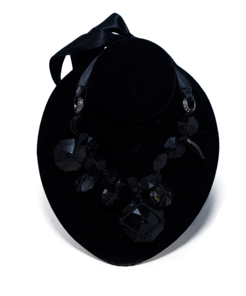 Lanvin Black Ribbon Beaded Rhinestones Necklace 1