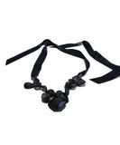Lanvin Black Ribbon Beaded Rhinestones Necklace 2