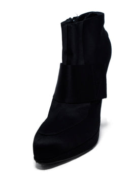 Lanvin Black Satin Platform Booties 1