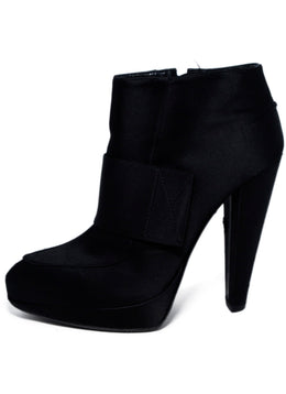 Lanvin Black Satin Platform Booties 2