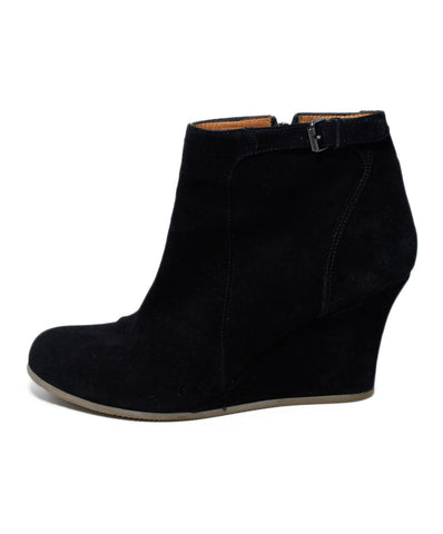 Lanvin Black Suede Wedge Booties 1