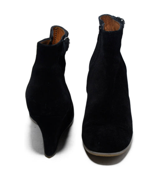 Lanvin Black Suede Wedge Booties 3