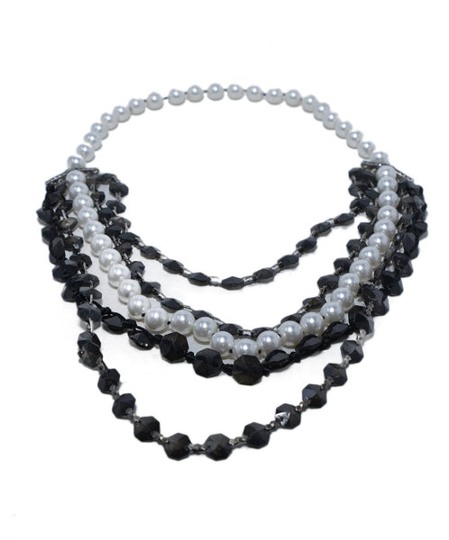 Lanvin Black White Pearls Beaded Silver Metal 6 Strand Necklace 2