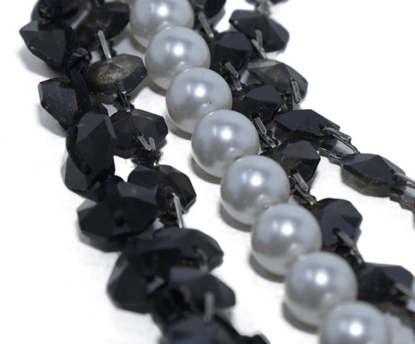 Lanvin Black White Pearls Beaded Silver Metal 6 Strand Necklace 3