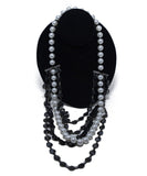Lanvin Black White Pearls Beaded Silver Metal 6 Strand Necklace 1