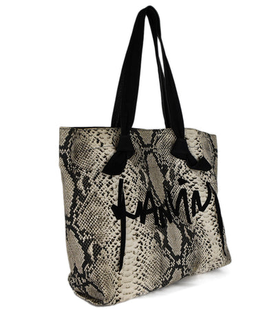 Lanvin Black White Snake Print Cotton Tote Handbag 1