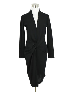 Lanvin Black Wool Long Sleeve Twist Detail Dress 1