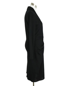 Lanvin Black Wool Long Sleeve Twist Detail Dress 2