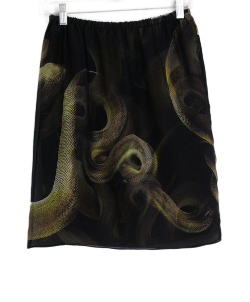Lanvin black yellow print silk skirt 1