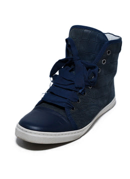 Lanvin Blue Navy Leather High Tops Shoes Sneakers 1