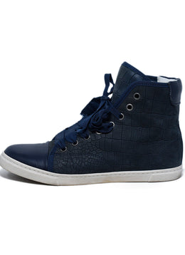 Lanvin Blue Navy Leather High Tops Shoes Sneakers 2