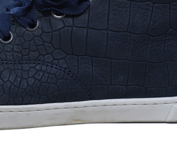 Lanvin Blue Navy Leather High Tops Shoes Sneakers 7