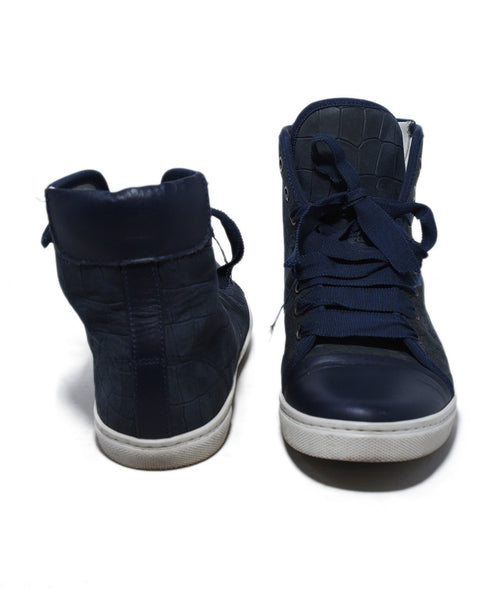 Lanvin Blue Navy Leather High Tops Shoes Sneakers 3