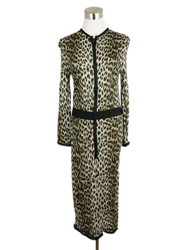 Lanvin Brown Grey Leopard Print Viscose 1