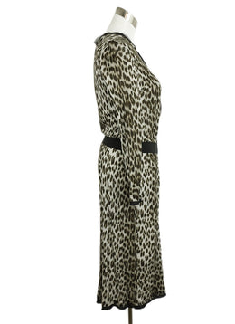 Lanvin Brown Grey Leopard Print Viscose 2