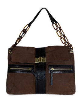 Lanvin Brown Leather Plastic Links Shoulder Bag 1