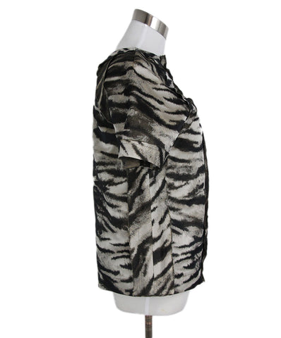 Lanvin Olive Champagne Print Acetate Silk Blouse 3