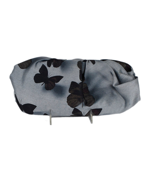 Lanvin Metallic Grey Silk Butterfly Clutch Handbag 1