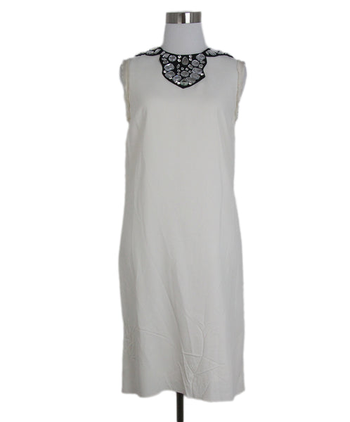 Lanvin ivory silk black rhinestones dress 1