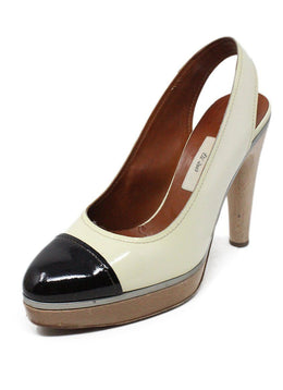 Lanvin Ivory Brown Patent Leather Heels 1