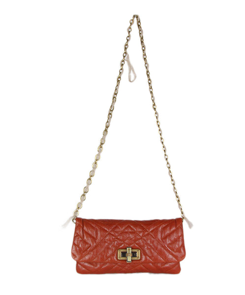 Lanvin Orange Quilted Leather Handbag 1