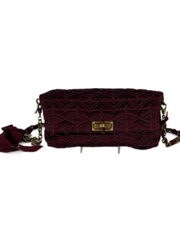 Lanvin Red Burgundy Silk Crossbody Handbag 1