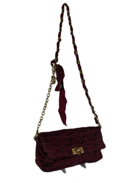 Lanvin Red Burgundy Silk Crossbody Handbag 2
