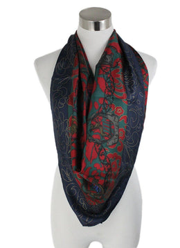 Lanvin Red Green Navy Silk Scarf 1