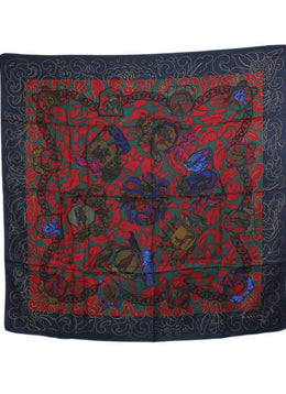 Lanvin Red Green Navy Silk Scarf 2