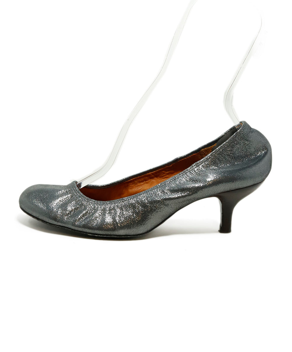 Lanvin Silver Pewter Leather Heels 2