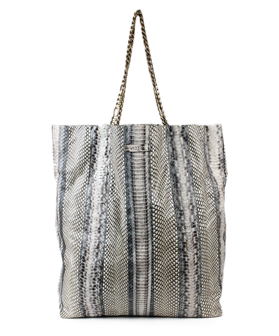 Lanvin Grey Beige Python Tote - Michael's Consignment NYC  - 1