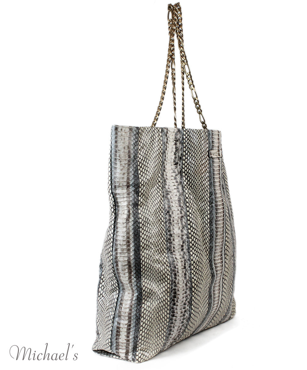 Lanvin Grey Beige Python Tote - Michael's Consignment NYC  - 2
