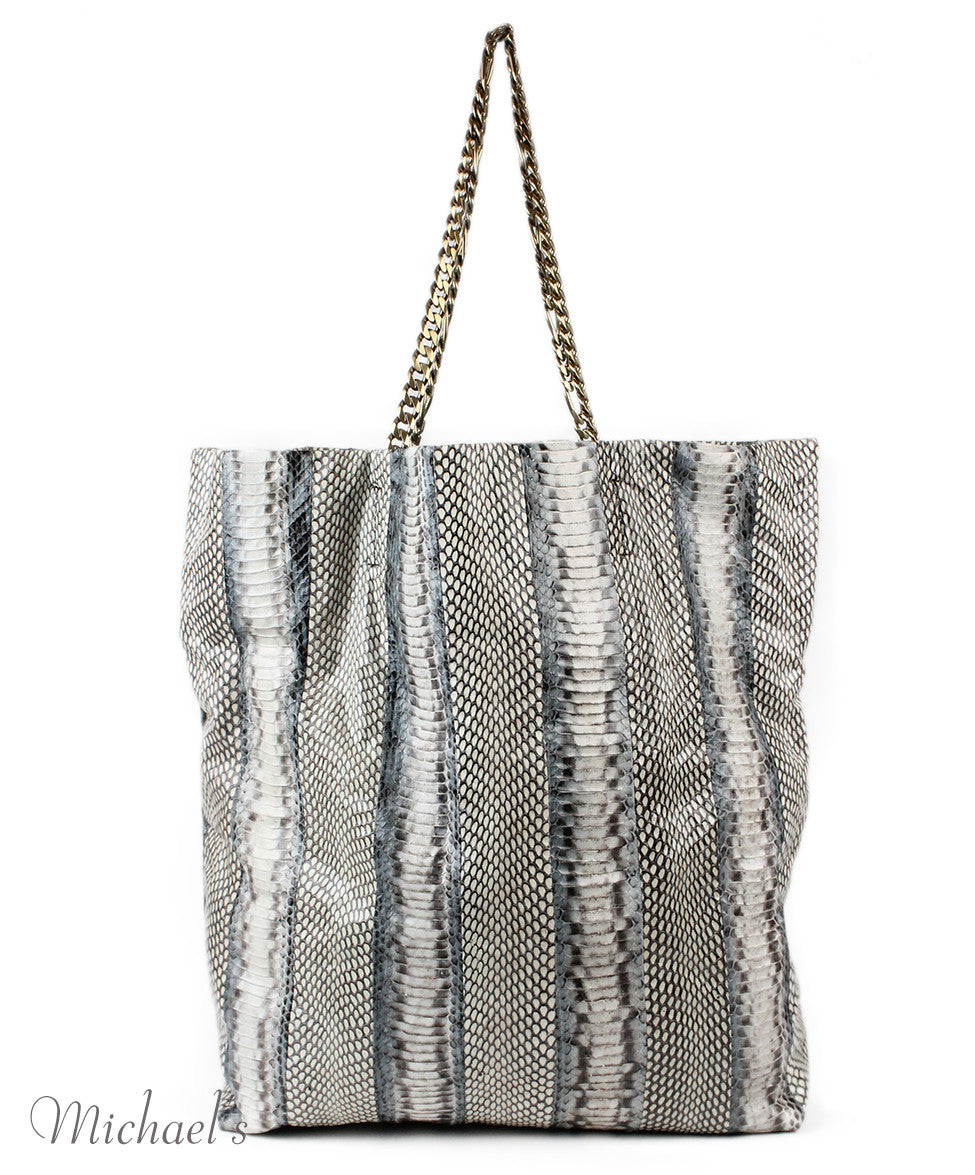 Lanvin Grey Beige Python Tote - Michael's Consignment NYC  - 3