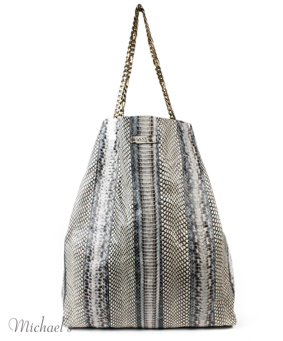 Lanvin Grey Beige Python Tote - Michael's Consignment NYC  - 4