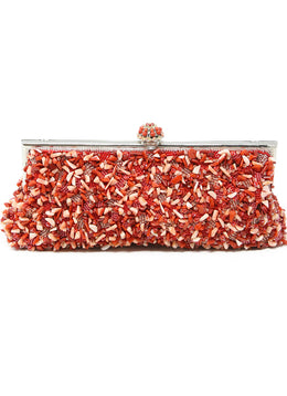 Larisa Barrera Red Coral Beaded Clutch 1