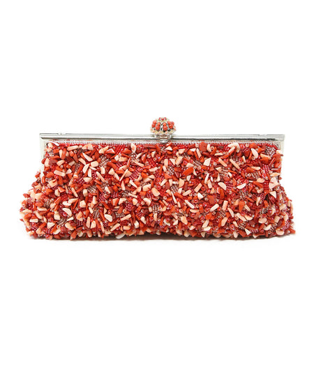 Whiting & Davis Silver Metallic Clutch with Clear Stone Wrist Handle Detail