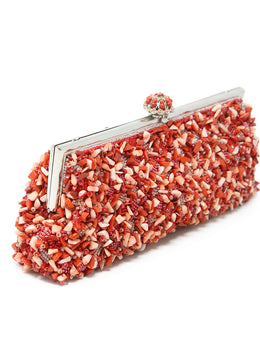Larisa Barrera Red Coral Beaded Clutch 2