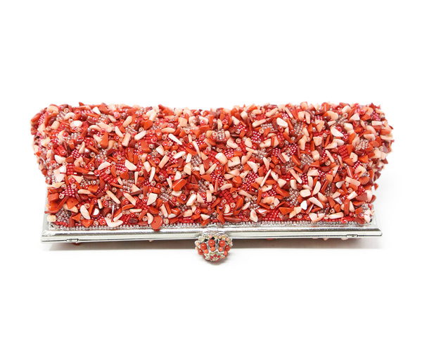 Larisa Barrera Red Coral Beaded Clutch 5
