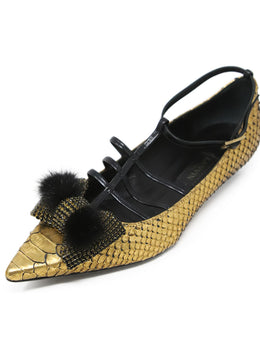 Lanvin Gold Black Python Leather Flats with Rhinestone and Mink Detail 1